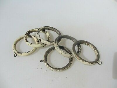 "Antique Brass Curtain Rings Victorian Holder Hangers Brackets x6   2.5"" width."