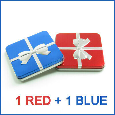 SET OF 2 Metal Gift BoxesTin Container Red and Blue Ribbon Small  Box Storage
