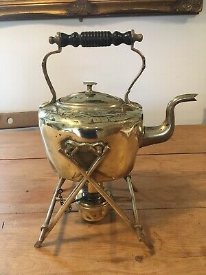 Arts and Crafts Brass Spirit Kettle Stand and Burner Leaf Design c 1900