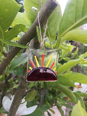 Fused Glass Sun Light catcher, Red Sunrise Hanging Gift, Present, Birthday