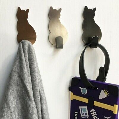 2Pcs Stainless Steel Cute Cat Shaped Wall Mount Hooks Hanger Organizer Holder US