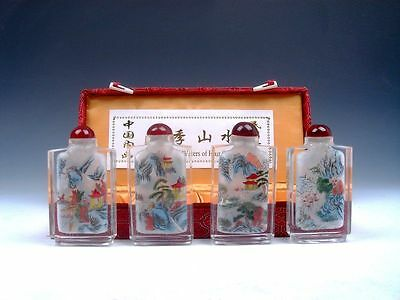 4 Peking Glass Inside Scenery Reverse Hand Painted Snuff Bottles