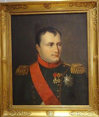Large 19th Century French Portrait Of Napoleon Bonaparte Antique Oil Painting