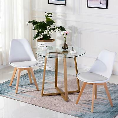 Set of 2 Tulip Dining Chair Retro Plastic Wood Office Chair With Solid Wood Leg