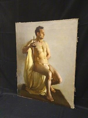 Large Circa Early 20th Century Nude Male Model Fencer Fencing Sword Portrait