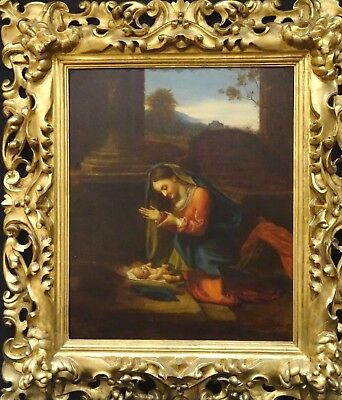 Huge 17th Century Italian Old Master Madonna Adoration of the Child CORREGGIO