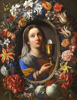 17th Century Italian Old Master Flowers Still Life Allegory of Faith STANCHI