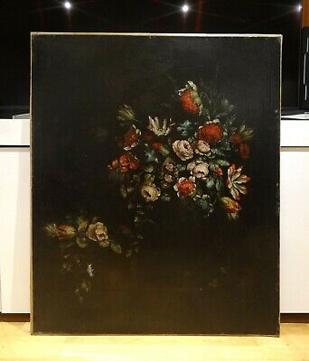 Huge 17th Century Dutch School Old Master Still Life Flowers In A Vase Painting