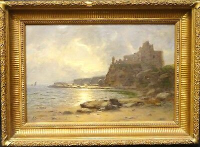 Large 19th Century Scottish Tantallon Castle Berwick Landscape Duncan CAMERON