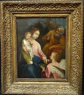 17th Century Italian School Old Master Holy Family And Angel Oil On Panel