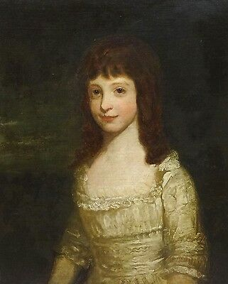 18th Century Master Portrait of a Girl White Dress Oil Painting Joshua REYNOLDS
