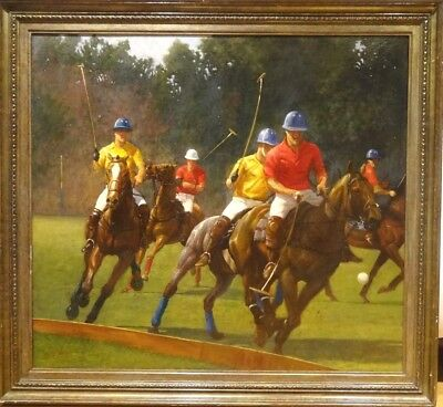 Fine Huge 20th Century The Polo Match At Highgrove Horses Oil Painting OTLEY