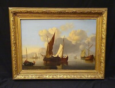 Huge 18th 19th Century Dutch Fishing Ships In An Estuary Antique Oil Painting
