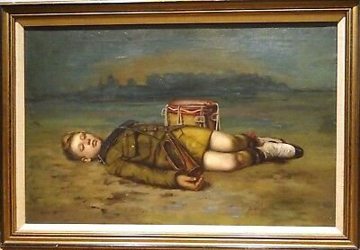 Large 19th Century Scottish Death of A Soldier Drummer Boy Antique Oil Painting