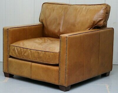 Rrp £1495 Timothy Oulton Halo Viscount William Large Armchair In Brown Leather
