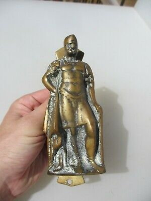 Vintage Brass Door Knocker Architectural Antique Old Roman Greek Soldier Knight