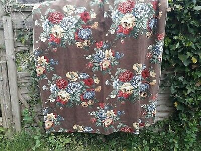 Vintage Fabric Linen Curtain Floral Moygashel Screen Print Country Living Cottag