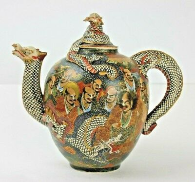 Antique Japanese Meiji Immortal Daruma Dragon Moriage Earthenware Teapot SIGNED