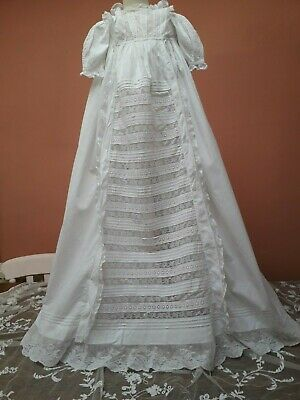 Antique Dress Christening Gown Victorian Baby Lace Embroidery Doll White Cotton