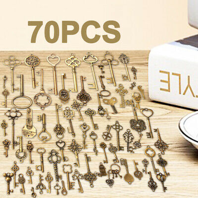 AU 70Pcs/Lot Bronze Keys Vintage Antique Old Look Skeleton Heart Bow Pendant