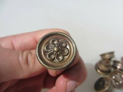 Antique Brass Cabinet Knob Drawer Handle Pull Old Cupboard Victorian Vintage x1