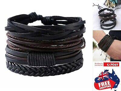 Fashion Mens PU Leather Bracelet Adjustable Wristband Braided Rope Wrap 1 Set