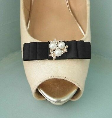 2 Small Black Satin Bow Clips for Shoes with Diamante & Pearl Centre