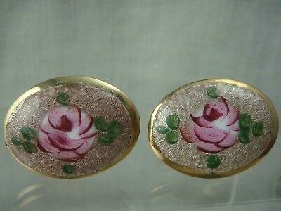 Vintage Guilloche Pink Rose Oval Gold Tone Cuff Links