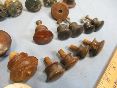 36 Antique & Vintage Wood Pulls, Primitive, Many Sets & Pairs, Variety of Styles