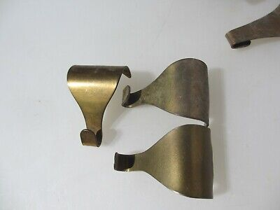 Victorian Brass Picture Rail Hook Moulding Hanging Antique Hooks Hangers Old x3