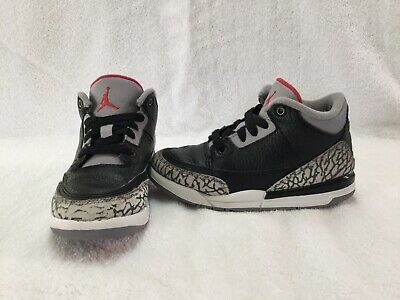 new style 3ee1d 198fa NIKE AIR JORDAN 3 Retro Black Cement Toddler Boys Black/grey Shoes~size 11 C