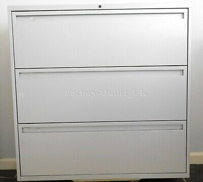 Bisley White 3 Drawer Lateral Office Side Filer Filing Cabinet Foolscap 4 STK