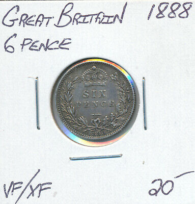 Great Britain Sixpence 1888 - Vf/Ef