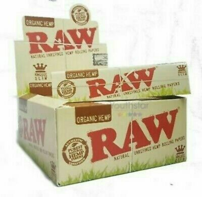 Raw king size slim organic hemp Rolling Papers -50 BOOKLETS Free Shipping