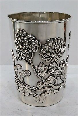Japanese Silver Beaker, Applied Chrysanthemums, Meiji Period, Japan Late 19Th C.