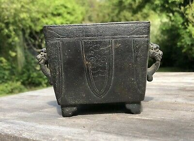Fine Chinese 18Th Century Square Censer Taotie Xuande Mark Mask Handles