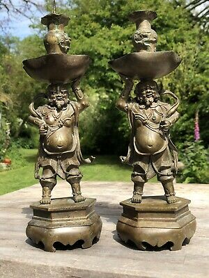 Fine Chinese Qing Dynasty 18Th Century Pair Of Bronze Candlestick Immortals