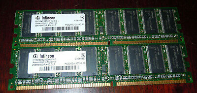 Lot Of 2 Infineon 256Mb Memory Ram Pc3200 400Mhz Ddr Cl3 200 Pin