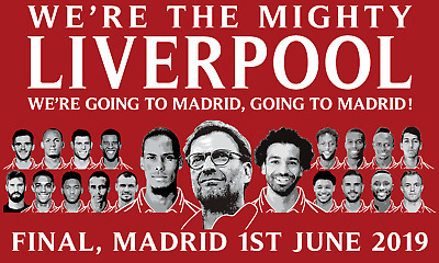 """Liverpool Players Going To Madrid 40"""" x 24"""" Flag Gift Souvenir"""