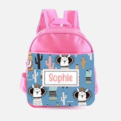 Personalised Llama Alpaca Hat Cactus Girls Kids Backpack Childrens School Bag