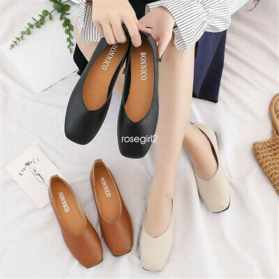 36d6beb34 Women Ladies Leather Flats Casual Slip On Loafers Moccasins Driving Pumps  Shoes