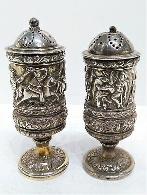 Pair Of Indian Antique Silver Pepper Shakers, Hunting Scenes, Early 19Th Century