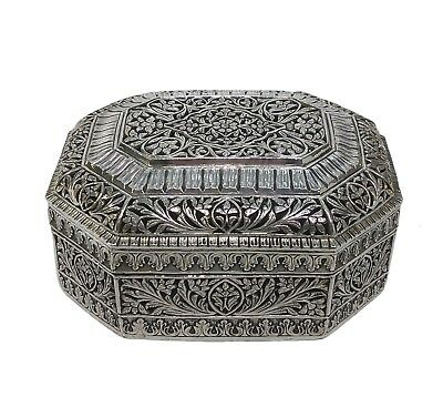 Antique Silver Mughal-Style Indian Octagonal Box, Rajasthan, Early 20Th C.