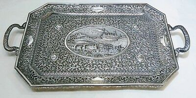 Antique Indian Silver Serving Tray, Kutch, Steamship & Train, India Circa 1900