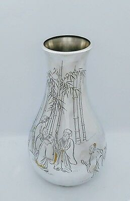 Large Antique Japanese Silver & Gold Vase, Figural Scenes, Signed, Meiji/Taisho