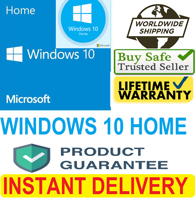 WINDOWS 10 HOME  100% Genuine Key WIN 10 HOME 32/64 bit FAST DELIVERY