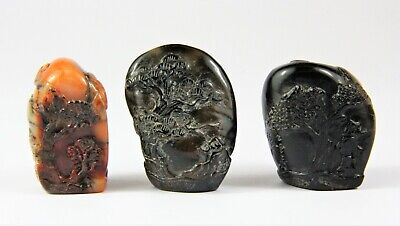 3 x antique Chinese carved & signed Shoushan Stone Pebble seals.
