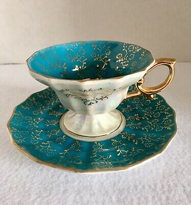 Vintage Royal Sealy Fine China Cup & Saucer Japan Teal Pearl Luster Gold Trim