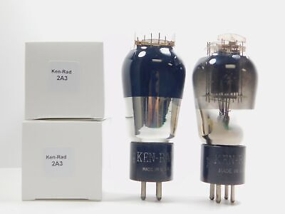 Ken-Rad 2A3 Matched Vintage Vacuum Tube Pair Smoked Glass D Getter (Test 100%)