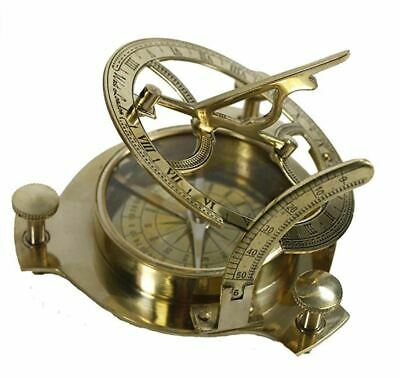 Antique Brass Sundial Nautical Maritime Compass Vintage London Style Decor Gift